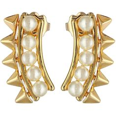 Rebecca Minkoff Pearl Cuff Earrings ($48) ❤ liked on Polyvore featuring jewelry, earrings, spike jewelry, pearl jewellery, spike earrings, rebecca minkoff jewelry and post earrings
