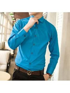Fit Long Sleeve Stand Collar Sky Blue Shirt