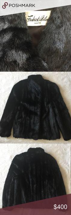"""Black MINK Fur Jacket Black MINK Fur Jacket   • """"Frederick & Nelson"""" Seattle • Size 16 • 2 outside pockets • 1 inside hidden pocket  • 3 Hook/Eye Closure  • Natural Mink Skin Jackets & Coats"""