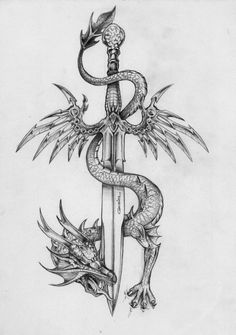 Amazing Sword With Dragon Tattoo Design Amazing Sword With Dragon Tattoo Design. - Amazing Sword With Dragon Tattoo Design Amazing Sword With Dragon Tattoo Design This image has - Sword Tattoo, Dagger Tattoo, Tattoo Wings, Arrow Tattoo, Diy Tattoo, Tattoo Shop, Tattoo Art, Tattoo Design Drawings, Tattoo Life