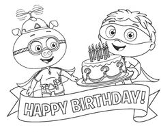 Alpha Pig And Super Why Happy Birthday Coloring Page To Print For Kids