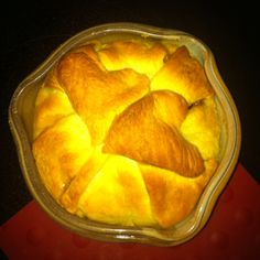 Brie with fig preserves wrapped in crescent rolls. I cut hearts out of the extra pieces. Yum!