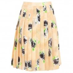 Rose print silk chiffon skirt