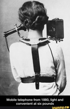 Mobile telephone from 1880, light and convenient at six pounds