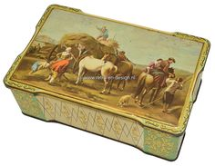 Vintage tin with haying scene and horses, hinged lid Vintage tin with painting on lid with haying scene with farmers, horses and a dog. At the sides nice decorations in green, créme and golden details. Tin stands on four halfround feet and has a hinged lid.  see: http://www.retro-en-design.co.uk/a-44083310/tins/vintage-tin-with-haying-scene-and-horses-hinged-lid/