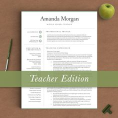 Teacher Resume Template for Word and Pages | 1, 2 & 3 Page Resume Template + Cover Letter + References + Icons | Teacher Resume Template
