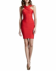 Cut-In Bandage Dress, Coral Poppy by Herve Leger at Neiman Marcus.
