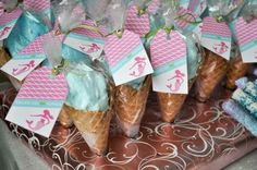 Love this serving idea...waffle cones filled with cotton candy!