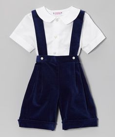 Loving this White Button-Up & Navy Velvet Suspender Shorts - Infant & Toddler on #zulily! #zulilyfinds