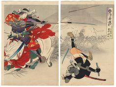 Tomoe Gozen in Battle, 1896 by Toshiaki (1864 - 1921)