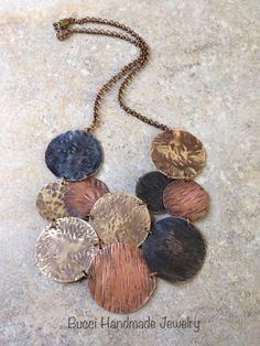 Metal Bib Necklace, textured, vintaj, copper, brass, statement, hammered, patina on Etsy, $55.00