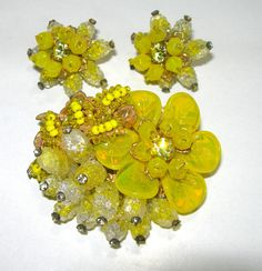VINTAGE SIGNED MIRIAM HASKELL POURED ART GLASS LEAVES BROOCH EARRINGS RHINESTONE #MIRIAMHASKELL