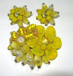VINTAGE SIGNED MIRIAM HASKELL POURED ART GLASS LEAVES BROOCH EARRINGS RHINESTONE #MIRIAMHASKELL