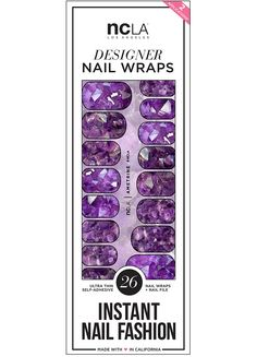 Ametrine nail wraps feature a stunning crystal pattern full of these beautiful purple gems. So luminous and unique for a one of a kind manicure! | NCLA 2016