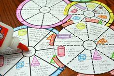 Volume and Surface Area Wheel Foldable - Math in Demand Teaching Aids, Teaching Math, Volume Worksheets, Math Tutor, Maths, Math Vocabulary, 7th Grade Math, Secondary Math, Math Projects