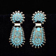 43b84dec8 Dishta Screw-back Earrings, Sterling Silver & Turquoise Zuni Flush Inlay,  2.25