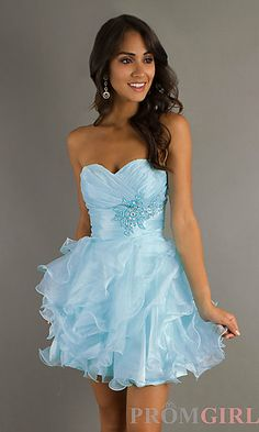 Light Blue Short Strapless Prom Dress by Alyce at PromGirl.com