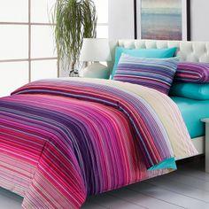 Textile cotton 100% slanting stripe cotton reactive print four piece set multicolour stripe water blue bedding