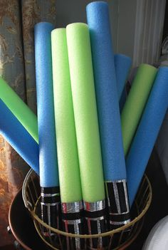 Fussy Monkey Business: Pool Noodle Light Saber Tutorial; would need red noodles to go w/ darth vader cape towel