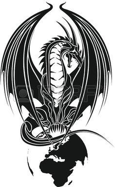 #Dragon #Tribal Wie #Lizenzfrei Nutzbare #Vektorgrafiken, #Clip #Arts, #Illustrationen.