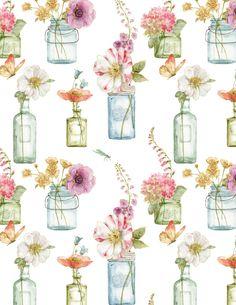 1409 86422 164 - Floral Vases White - 100% Cotton