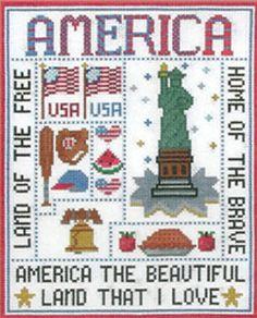 America Lover Cross Stitch Chart. http://www.kayewood.com/item/America_Lover/2718/m141 $7.50