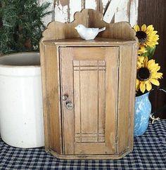 Antique Small Primitive Wooden Corner Cabinet Shelf Antique Doll or Farmhouse | Vintageblessings Primitive Cabinets, Wooden Cabinets, French Lace, Antique Dolls, Beautiful Dolls, Colonial, Dressing, Corner, Delicate