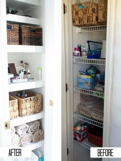 Simple bathroom linen closet organization that will work for your space. A place for everything keeps the closet in an organized state for everyone in the Bathroom Closet Organization, Bathroom Linen Closet, Small Space Organization, Home Organization Hacks, Linen Closets, Organizing Ideas, Organising, Master Bathroom, Organizing Life