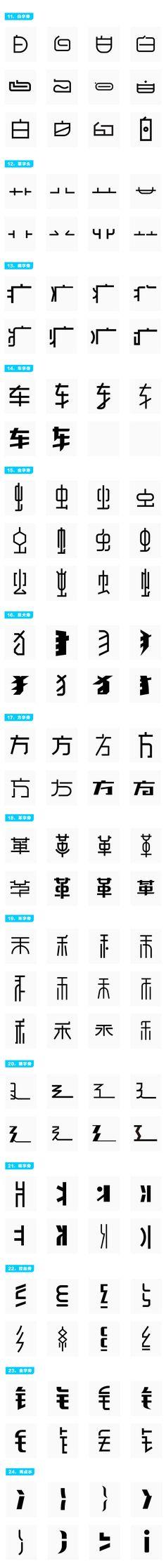 中文字体创作:常用偏旁部首设计范例之参考