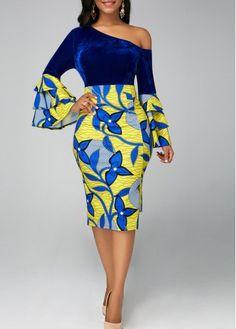 Rosewe Women Dress Royal Blue Floral Sheath Long Sleeve One Shoulder Asymmetric Hem Skew Neck Layered Bell Sleeve Dress Latest African Fashion Dresses, African Dresses For Women, African Print Fashion, African Attire, Women's Fashion Dresses, Africa Fashion, Latest Dress, Fashion Clothes, Fashion Boots