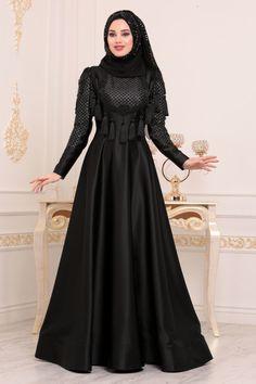 b395599523e5d Tesettürlü Abiye Elbise - Püsküllü Siyah Tesettür Abiye Elbise 37160S -  Tesetturisland.com