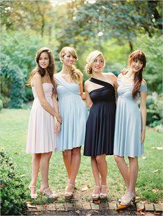 twist wrap dresses #bridesmaid #wedding #dress #bouquet #headpiece