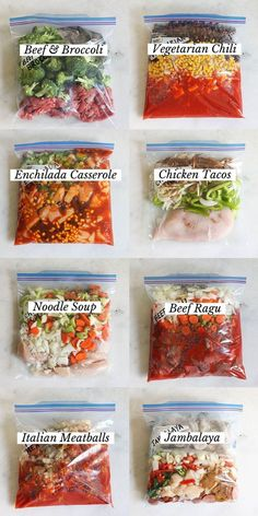 All you need to do is throw these simple ingredients in a freezer bag, and you'll have a delicious slow cooker meal whenever you want. Try these 8 options we picked! dinner slow cooker 8 Extremely Easy Crock-Pot Freezer Meals: Just Dump-and-Go! Freezable Meals, Slow Cooker Freezer Meals, Make Ahead Freezer Meals, Crock Pot Freezer, Freezer Cooking, Crock Pot Cooking, Easy Meals, Crock Pot Dump Meals, Freezer Dinner