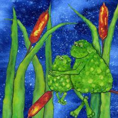 Hubbs Art Folk Prints Whimsical Debi Hubbs Flowers Cattails Toad Frogs Animals