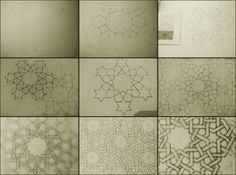 Various stages of creating a 12 point star pattern using an example from Daud Suttons Islamic Design qunud.wordpress