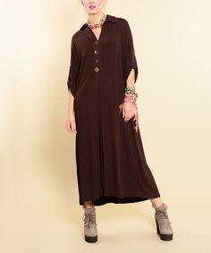 Etnik Esintiler Brown Button-Front Maxi Dress by Etnik Esintiler #zulily #zulilyfinds