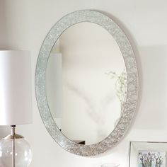 The Frameless Crystal Wall Mirror glows with elegance that will blend beautifully with any decor. This wonderful oval mirror adds a vibrant element to...