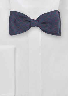 Silk Designer Bow Tie in Navy and Red | Bows-N-Ties.com