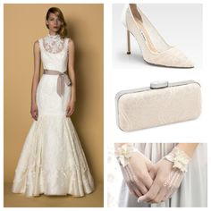 """Lace accessories to go with your wedding dress? Yes! We look these options with our Alyne Bridal """"Lucia"""" gown xo"""