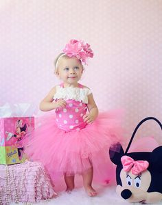 Pink and white Minnie Mouse inspired tutu outfit, tutu, corset top, headband, 1st birthday, Halloween, pageant, Disney on Etsy, $55.00