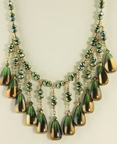 Bib Necklace/Beautiful Gold and green by JeanneSusanneDesign