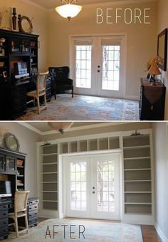 Ikea Shelves Into Built-in Bookcases. Maybe for the front room. Ikea Shelves Into Built-in Bookcases. Maybe for the front room. Sweet Home, Bookshelves Built In, Built Ins, Billy Bookcases, Bookcase Shelves, Glass Shelves, Custom Bookshelves, Bookshelf Ideas, Ikea Bookshelf Hack
