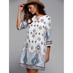 Cut Out Half Sleeve Tribal Print Dress In White | Twinkledeals.com