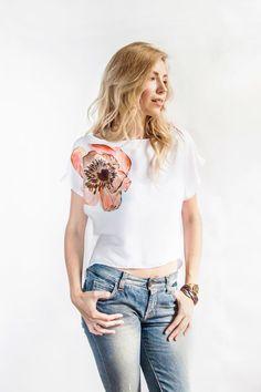 Hand Painted Shirt Art Clothing Handpainted Peony Flower T Shirt Tshirt Painted Silk Designer Shirts Loose Blouse Clothing Top Tee Pion
