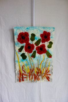 poppy wall hanging felted poppy picture red poppy by hipposinhats