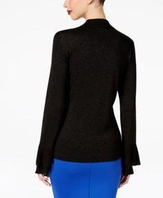Thalia Sodi Ruffled-Sleeve Choker Sweater, Created for Macy's - Black XXL