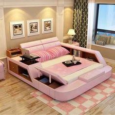 bedroom furniture sets modern leather queen size double bed frame #BedroomFurnitureSets