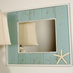 beachy bathroom mirrors unique bathroom mirrors on home kitchen cabinets ideas with bathroom mirrors seaside bathroom mirrors Beach Theme Bathroom, Beach Room, Beach Bathrooms, Bathroom Mirrors, Seaside Bathroom, Bathroom Colors, Bathroom Ideas, Beach Mirror, Starfish Mirror