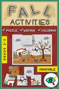 Fall visual activity coloring and writing printable Fall Preschool Activities, September Activities, Back To School Activities, Color Activities, Classroom Activities, Classroom Decor, Visual Learning, Play Based Learning, Learning Through Play