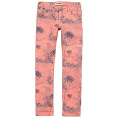 Parisienne' palm-tree printed jeans made of stretch denim. Slim fit. Drop waist. Adjustable waistband with an inner buttoned elastic strap. Zip fly. Five pocket